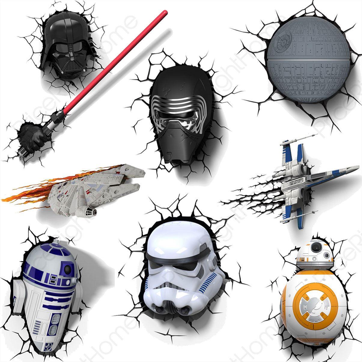 Star wars episode vii 3d wall lights ã¢â€â bb 8 stormtrooper r2 d2 light saber