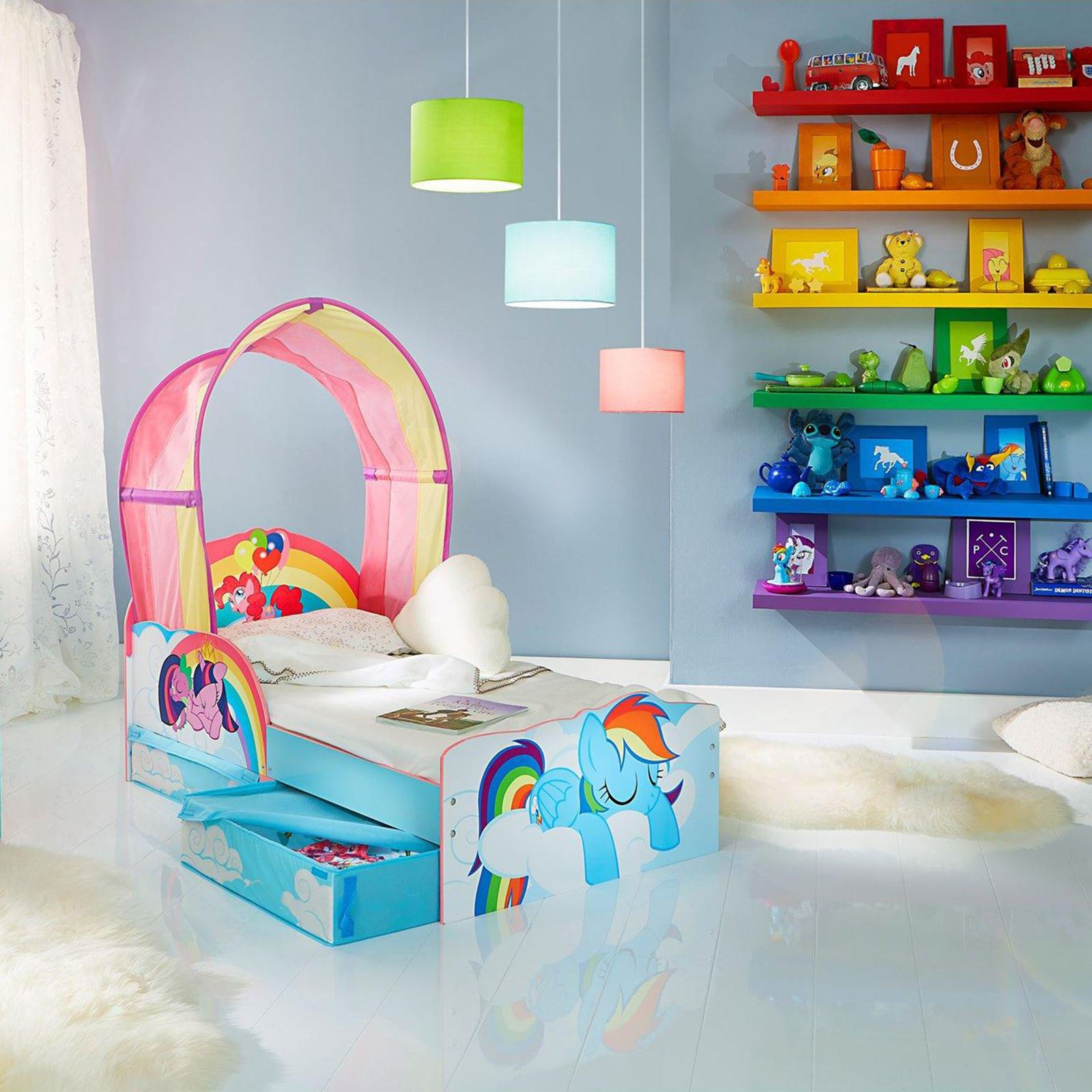 my little pony kleinkind bett mit lager entfernbarer regenbogen baldachin ebay. Black Bedroom Furniture Sets. Home Design Ideas