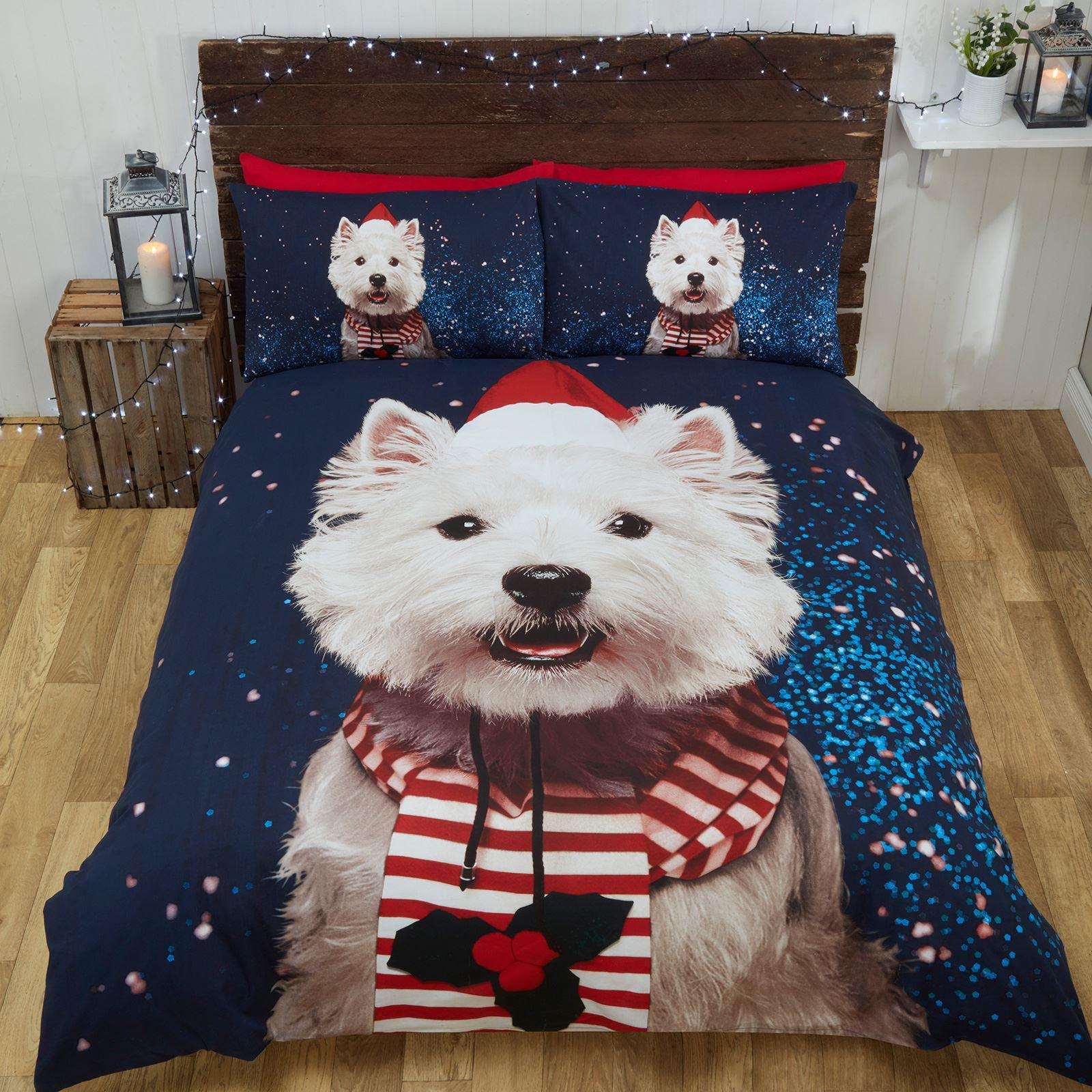 Copripiumino Cani.Natale Westie Cane King Size Set Copripiumino Biancheria Da Letto