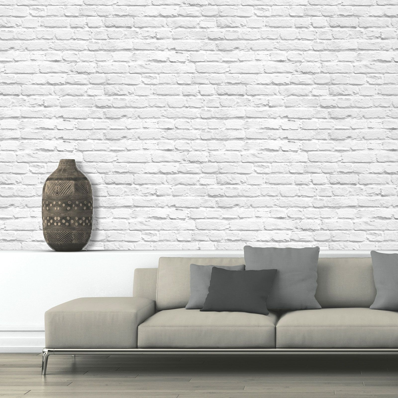 Muriva Pintado Blanco Papel Pintado Ladrillo 102539 Nuevo Muro