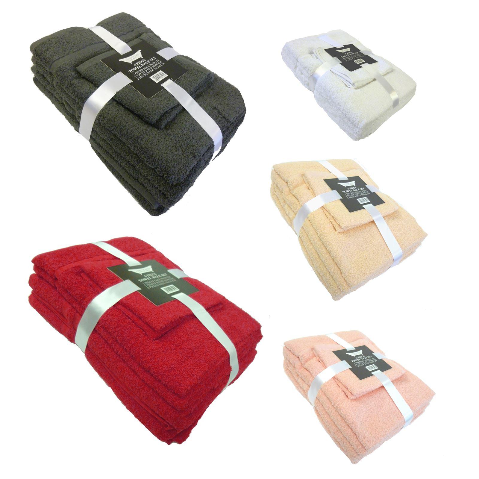 6 Piece 100% Cotton Home Bath Towel Bale Set - 8 Colours Towels ...