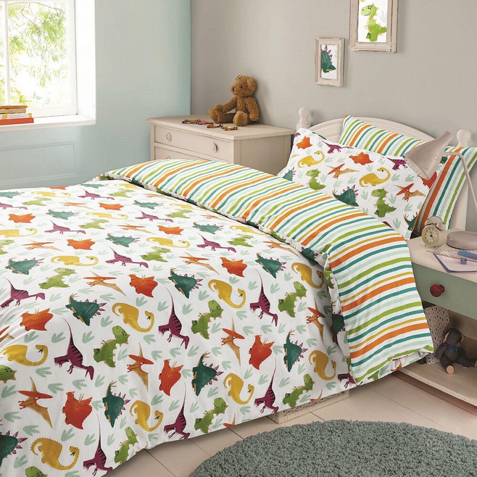 Dinosaur Einzelbettbezug Set Kinder Jungen Bettwäsche Bunt Wende Ebay