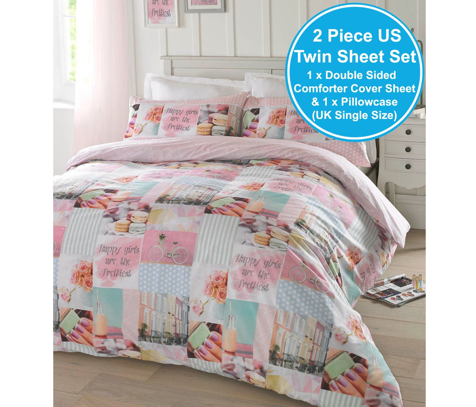 Grace Edredón Duvet cover set con funda de almohada Tamaño Individual Doble King Super