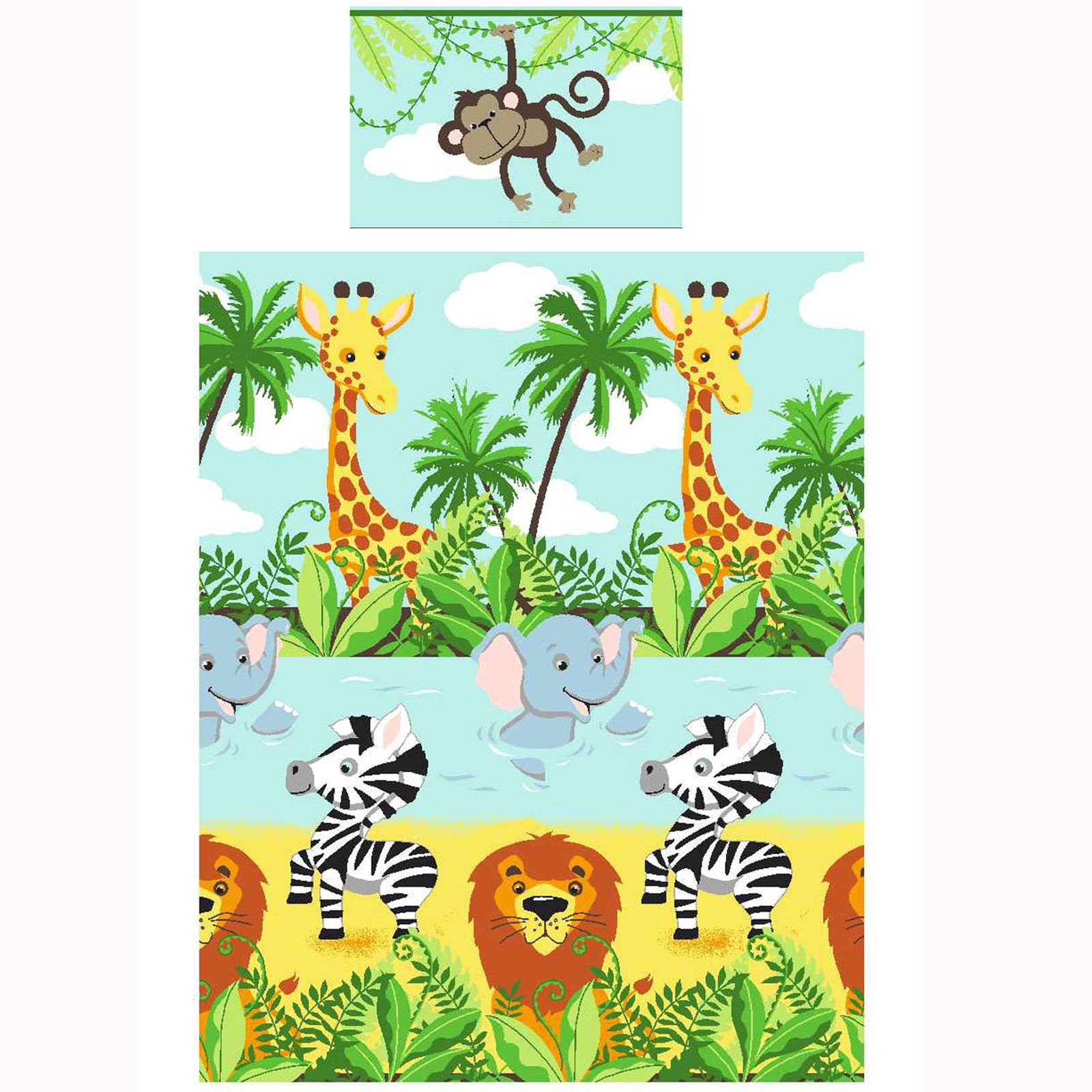 jungle tastic 4 in 1 junior b ndel bettdecke satz bettw sche l we kinderbett ebay. Black Bedroom Furniture Sets. Home Design Ideas