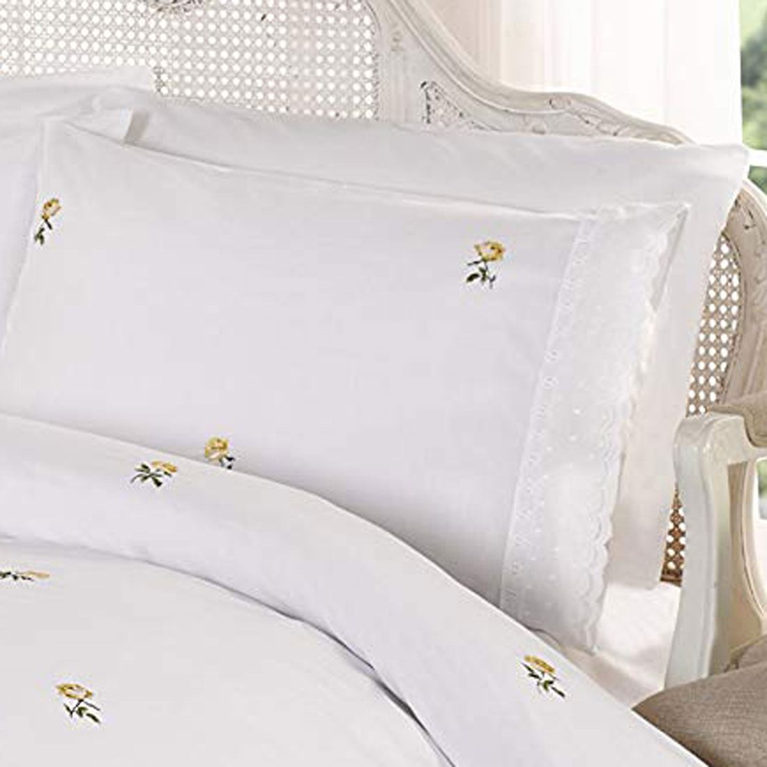 Alicia Floral White Yellow King Size Duvet Cover Set