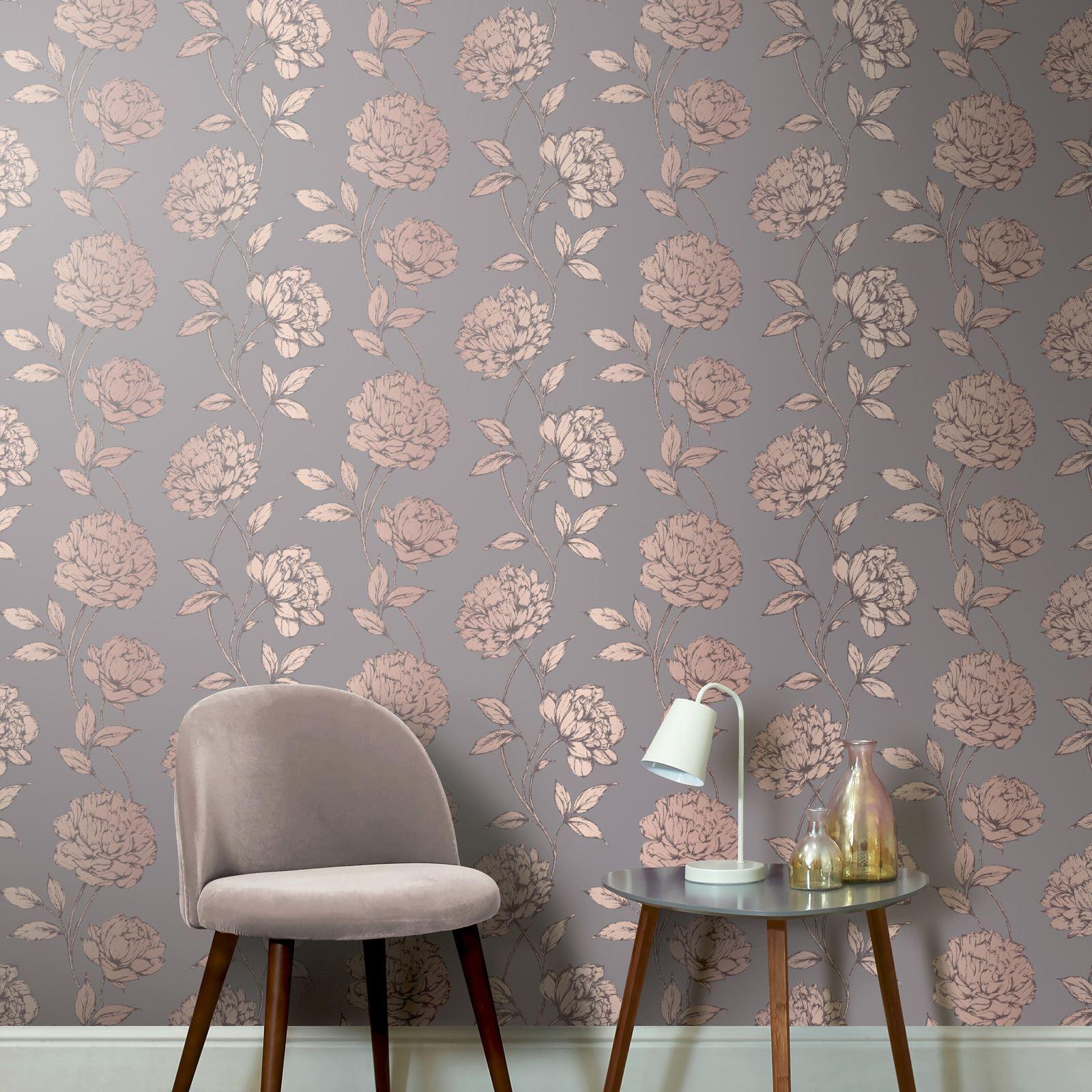 Pretty Metallic Floral Wallpaper 688001 Charcoal Arthouse Lounges