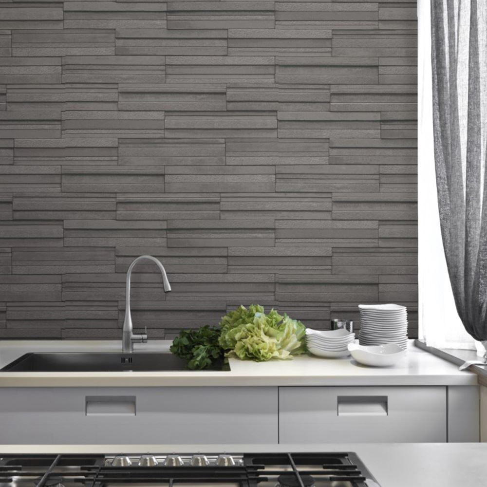 Grey Slate Kitchen Wall Tiles: FINE DECOR SLATE TILE WALLPAPER GREY & CHARCOAL AVAILABLE