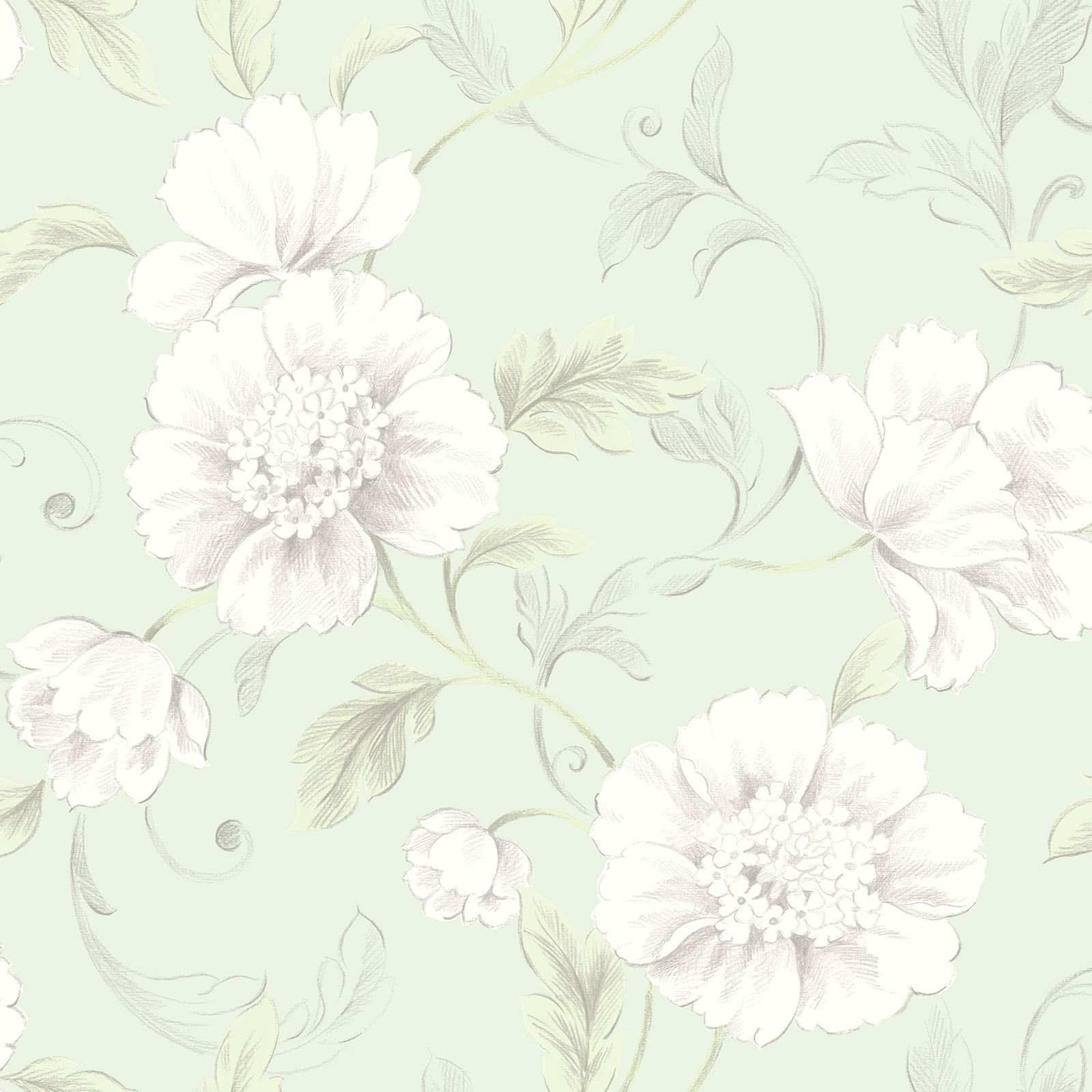 Rasch Boutique Floral Wallpaper Flowers Metallic Green