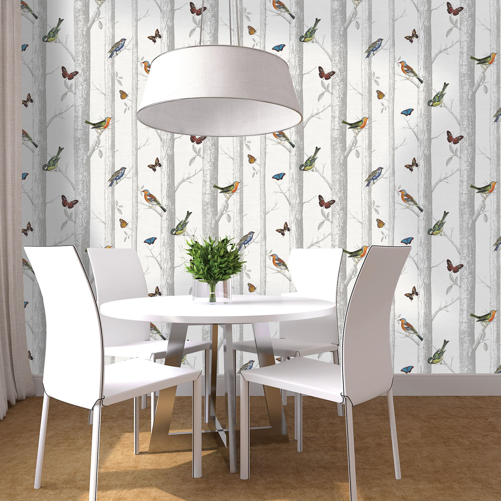 Beautiful birds themed wallpapers in various designs for Wallpaper for dining room feature wall