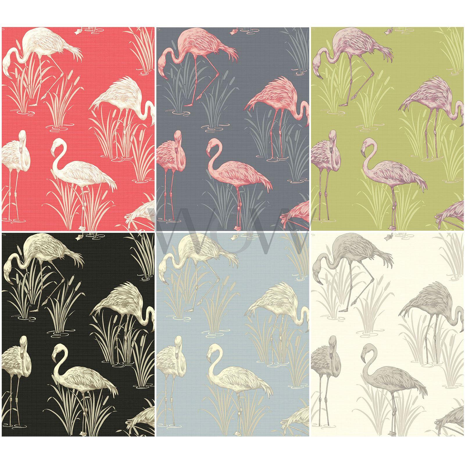Arthouse Vintage Lagoon Luxury Vinyl Metallic Flamingo Wallpaper