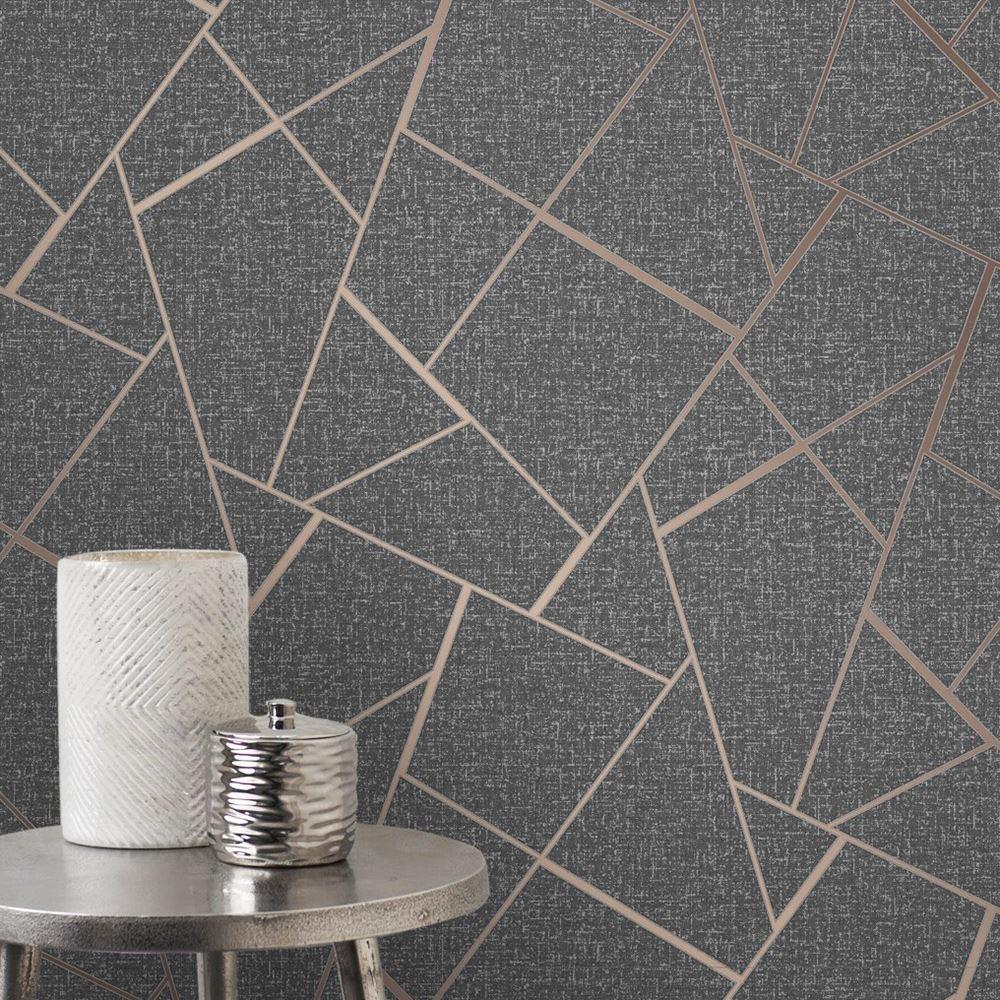 fine decor quartz fractal geometric metallic wallpaper