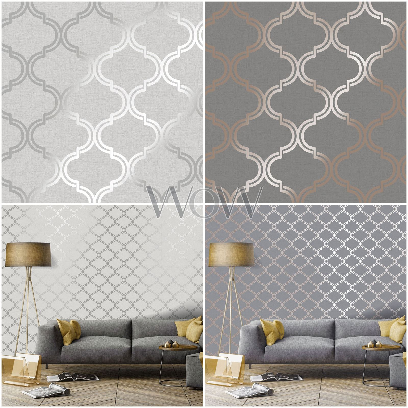 Holden Glistening Geometric Trellis Wallpaper Metallic