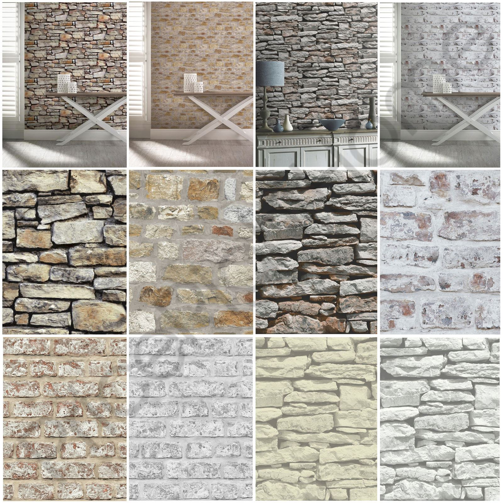 Arthouse rustic stone effect wallpaper brick morrocan for Stone wall art