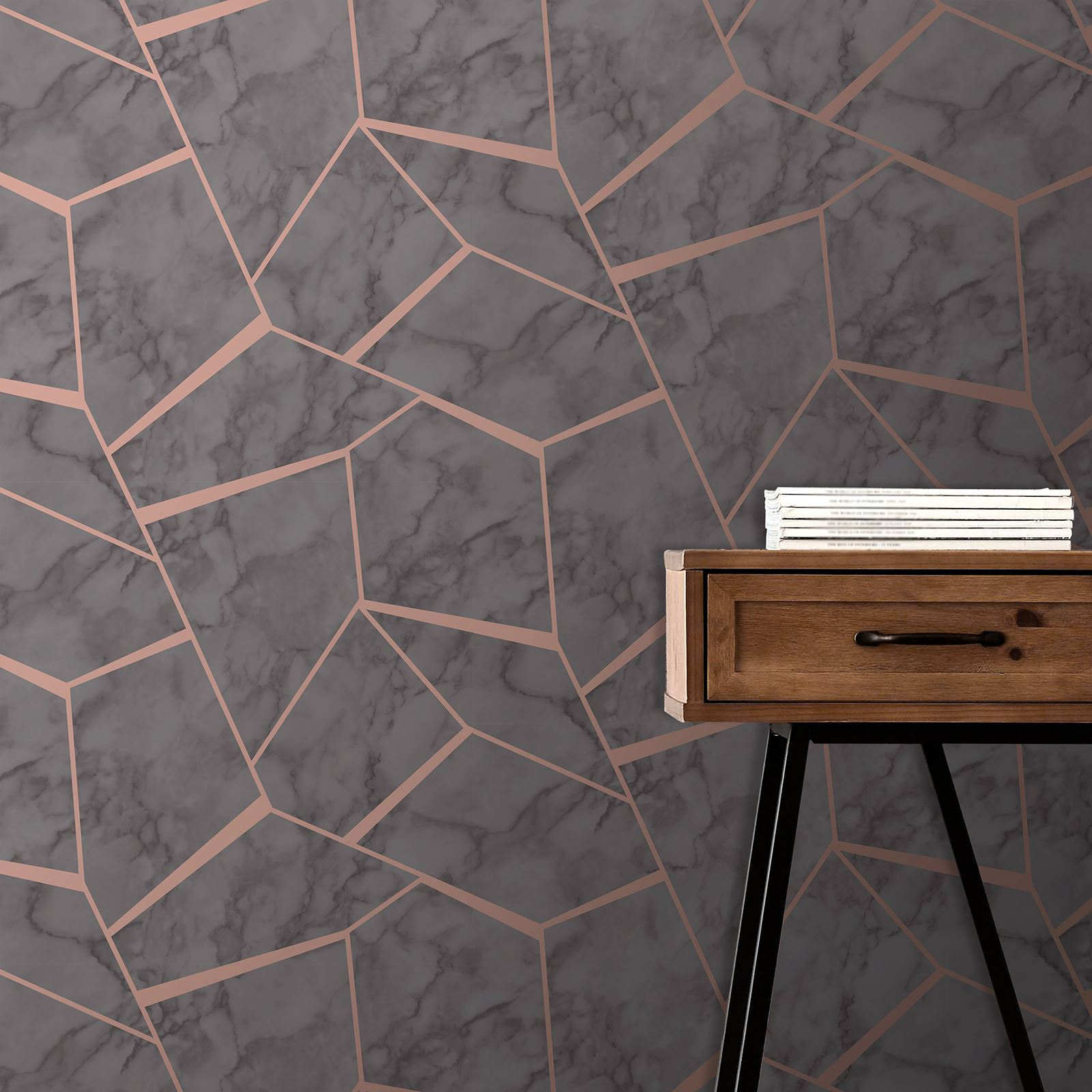 FINE-DECOR-METALLIC-GEOMETRIC-PLAIN-MARBLE-WALLPAPER-ROSE-GOLD-COPPER-SILVER thumbnail 3