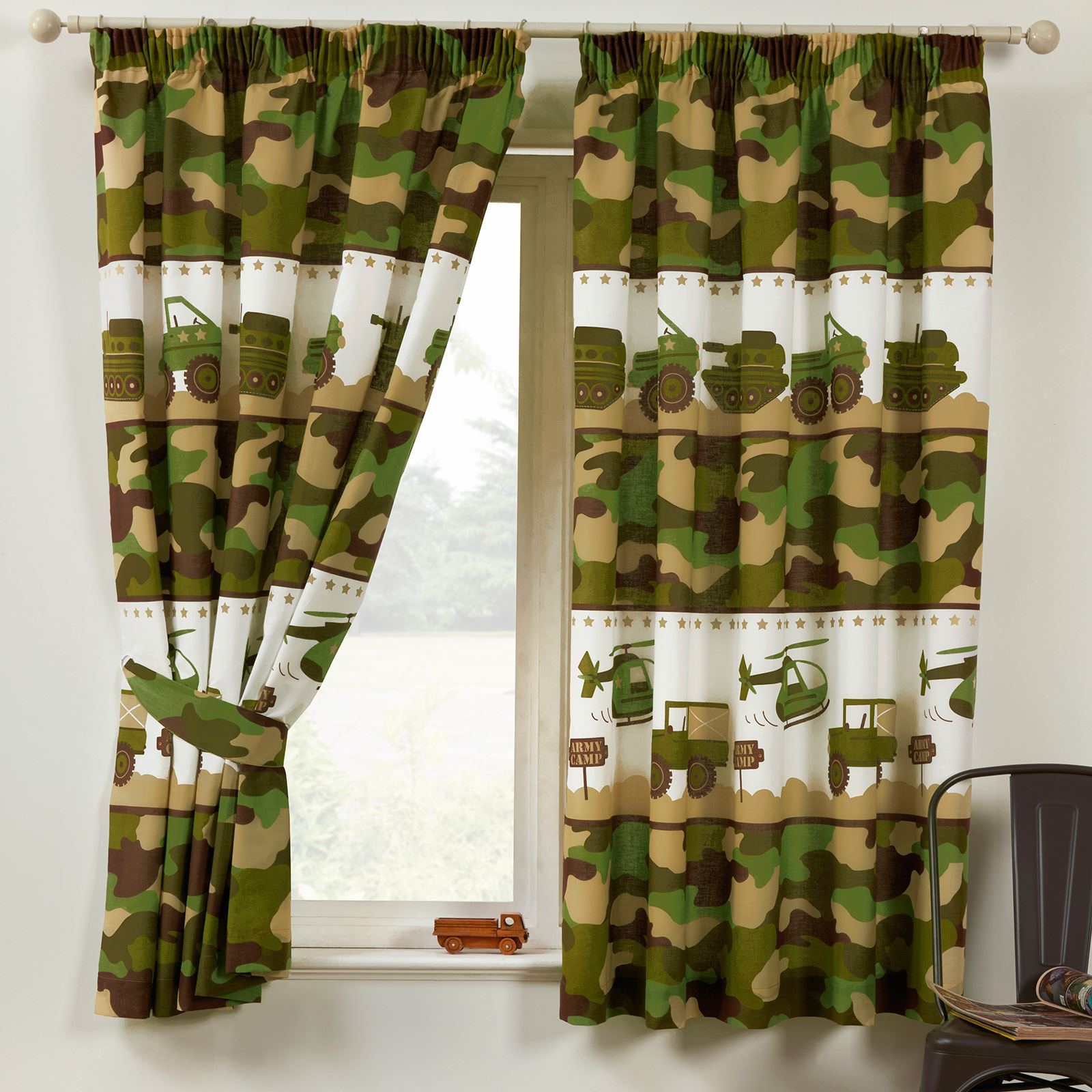 """Dinosaur World 66 X 54 Lined Curtains Tie Backs: ARMY CAMP CAMO 66"""" X 54"""" LINED CURTAINS NEW CAMOUFLAGE"""