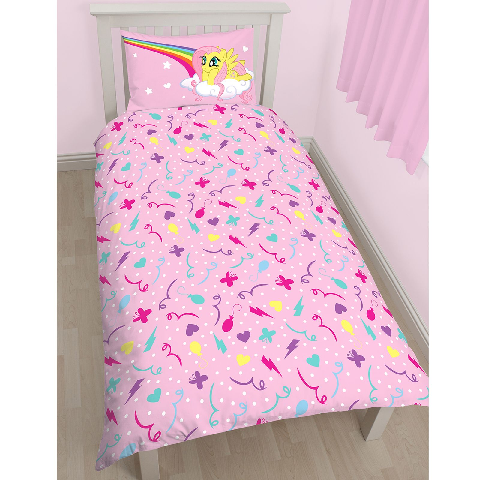My Little Pony Equestria Single Duvet Cover Set Panel Matching 72 Curtains Ebay