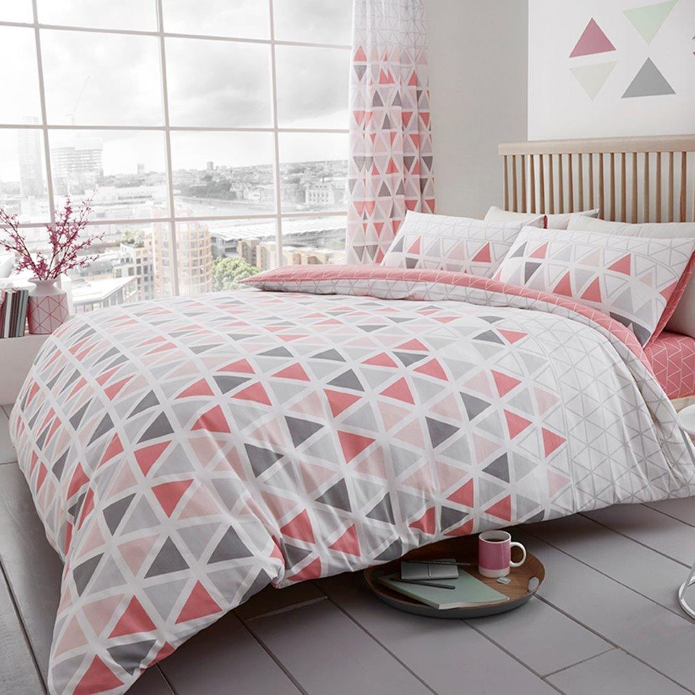 Details About Geo Triangle Duvet Cover Set Bedding Teal Pink Grey Single Double King Size