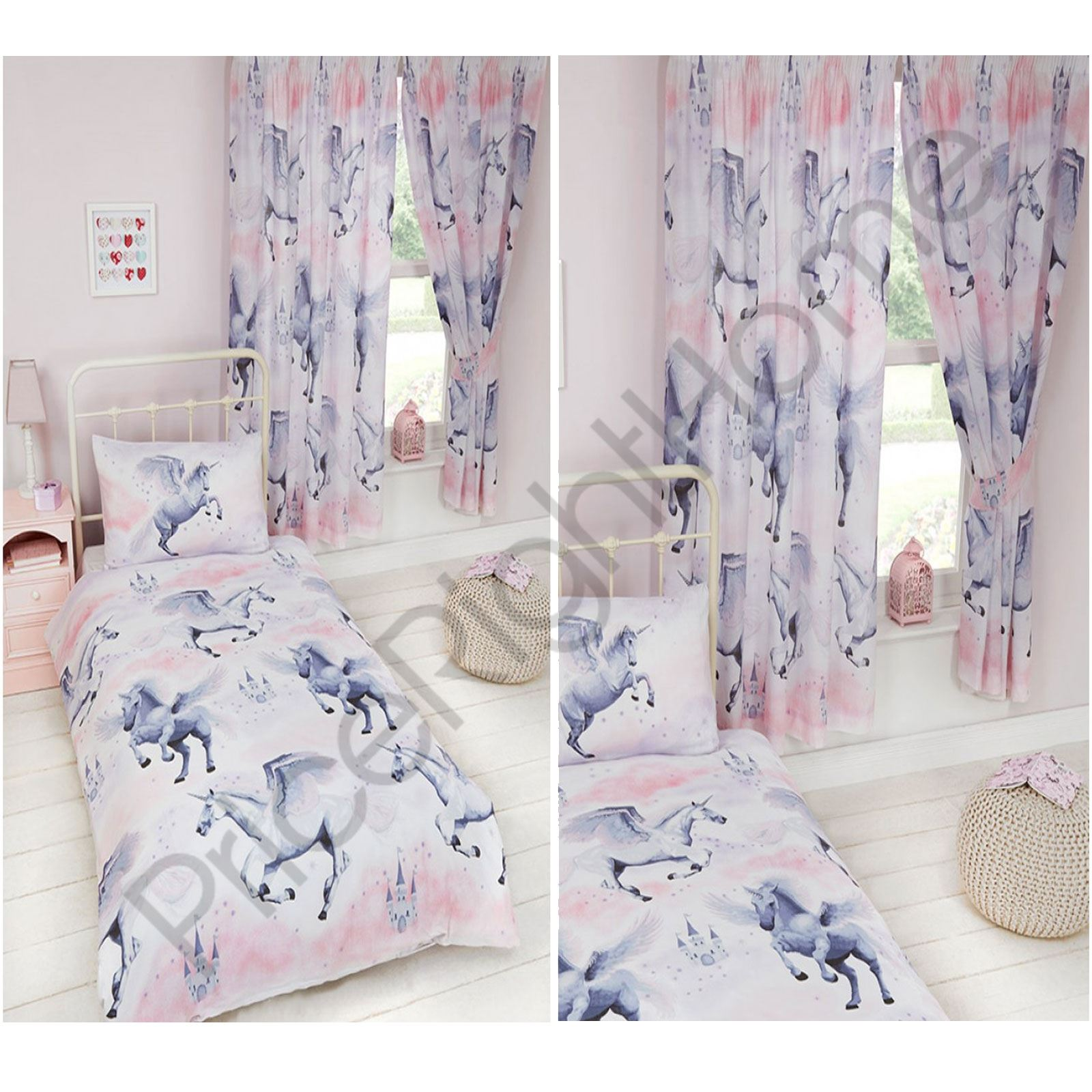 Stardust unicorn duvet cover sets matching curtains for Bedroom curtains and bedding