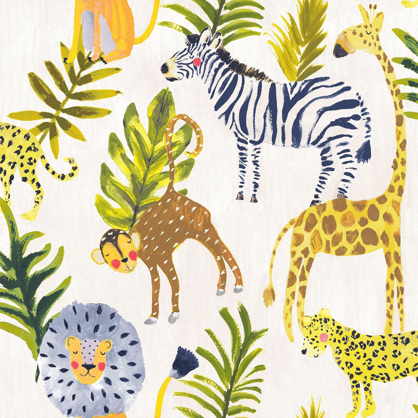 Details About Little Ones Eco Safari Wallpaper Grandeco Lo2201 Zebra Giraffe Lion Kids