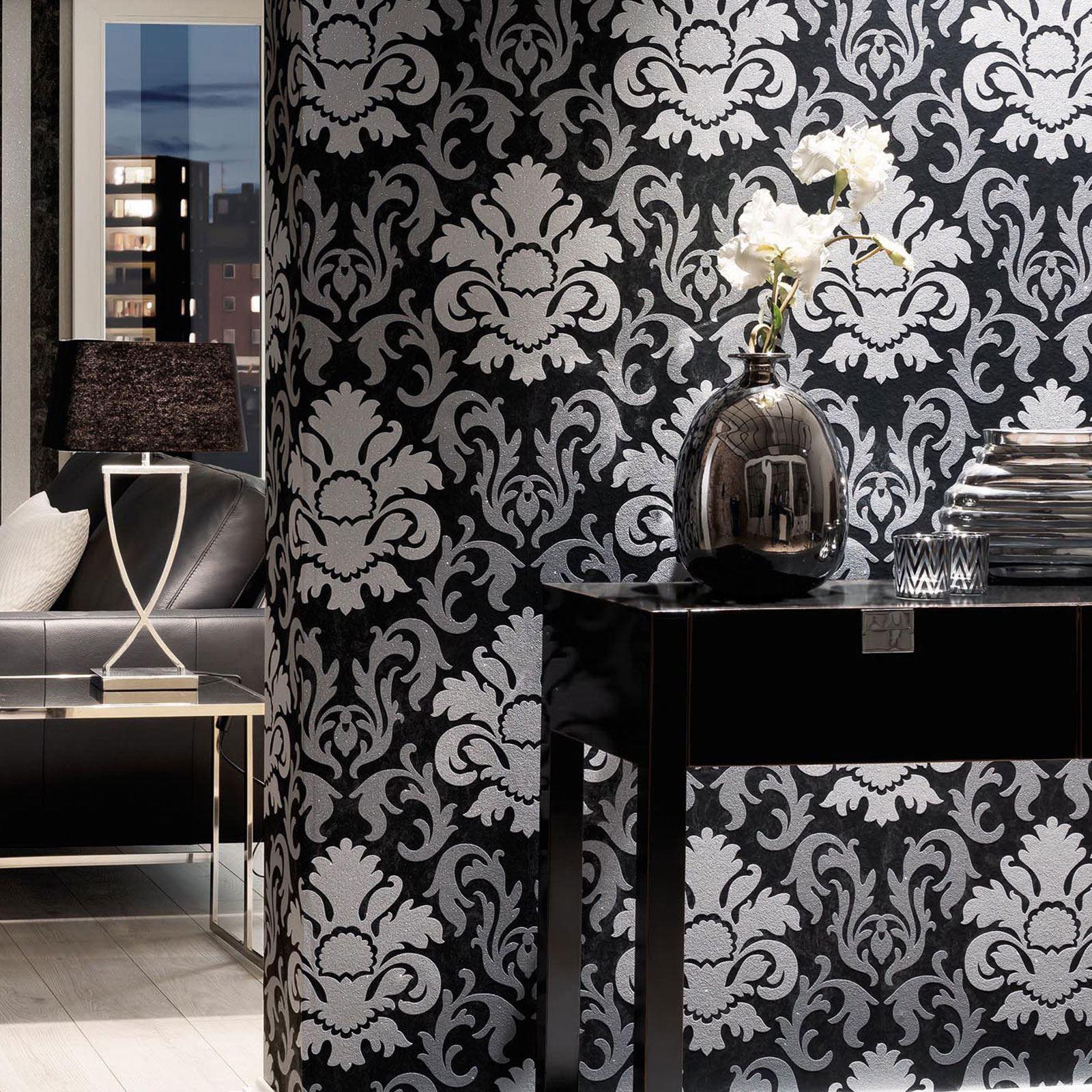 black damask wallpaper home decor www galleryhip com