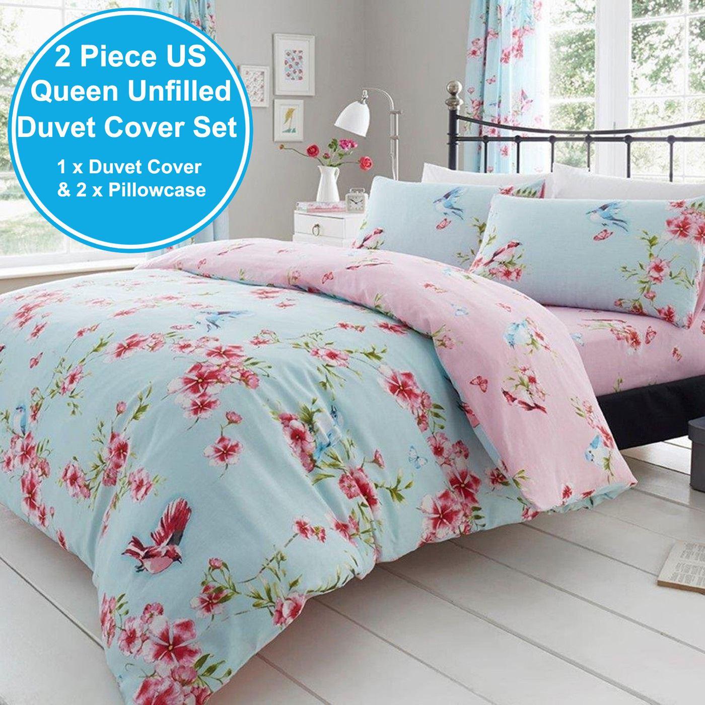 Birdie Blossom King Size Duvet Cover Set Floral Bedding Blue