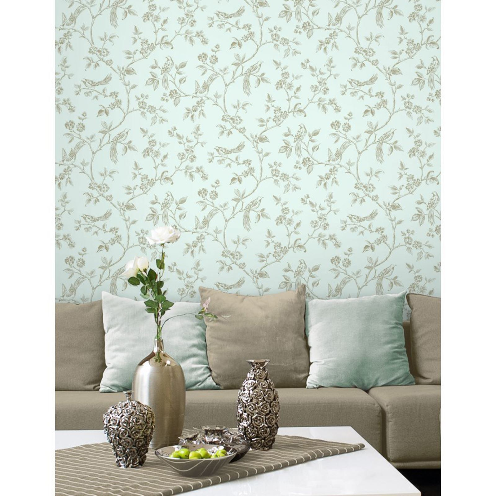 FINE DÉCOR TEAL DUCK EGG WALLPAPER