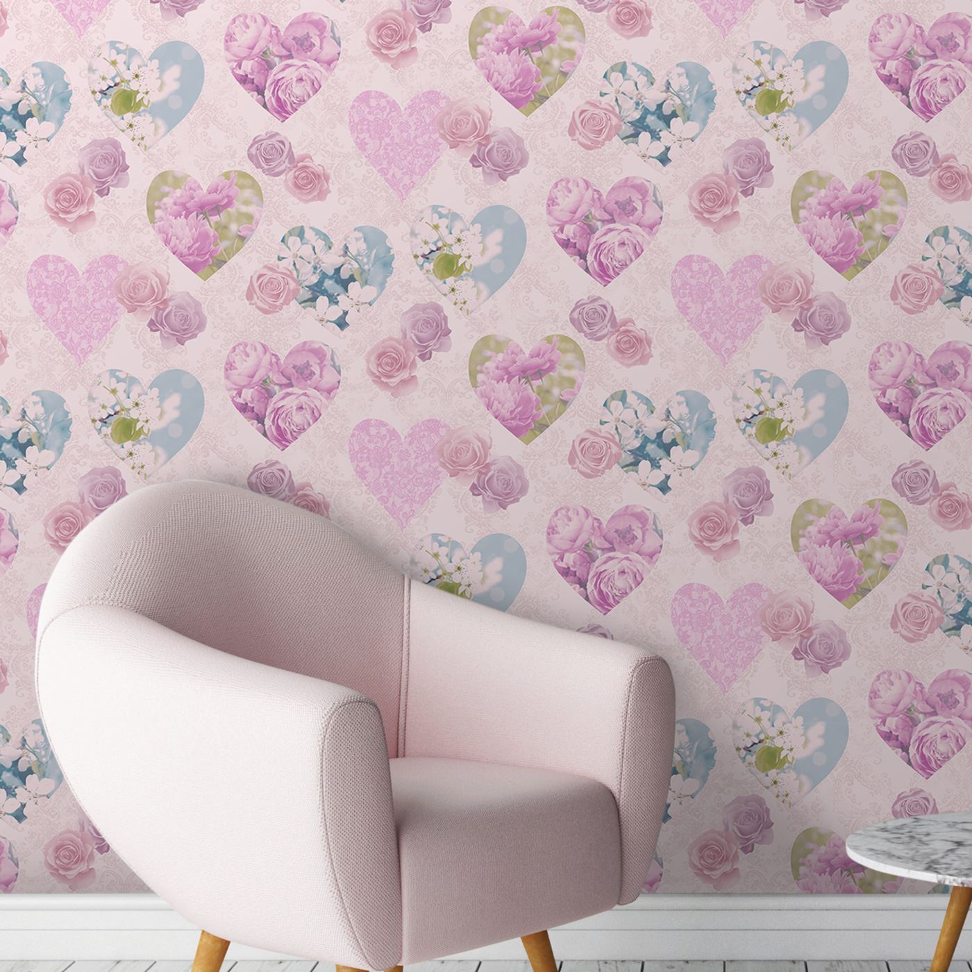 HEART THEMED WALLPAPER GIRLS BEDROOM PINK VARIOUS DESIGNS AVAILABLE ...