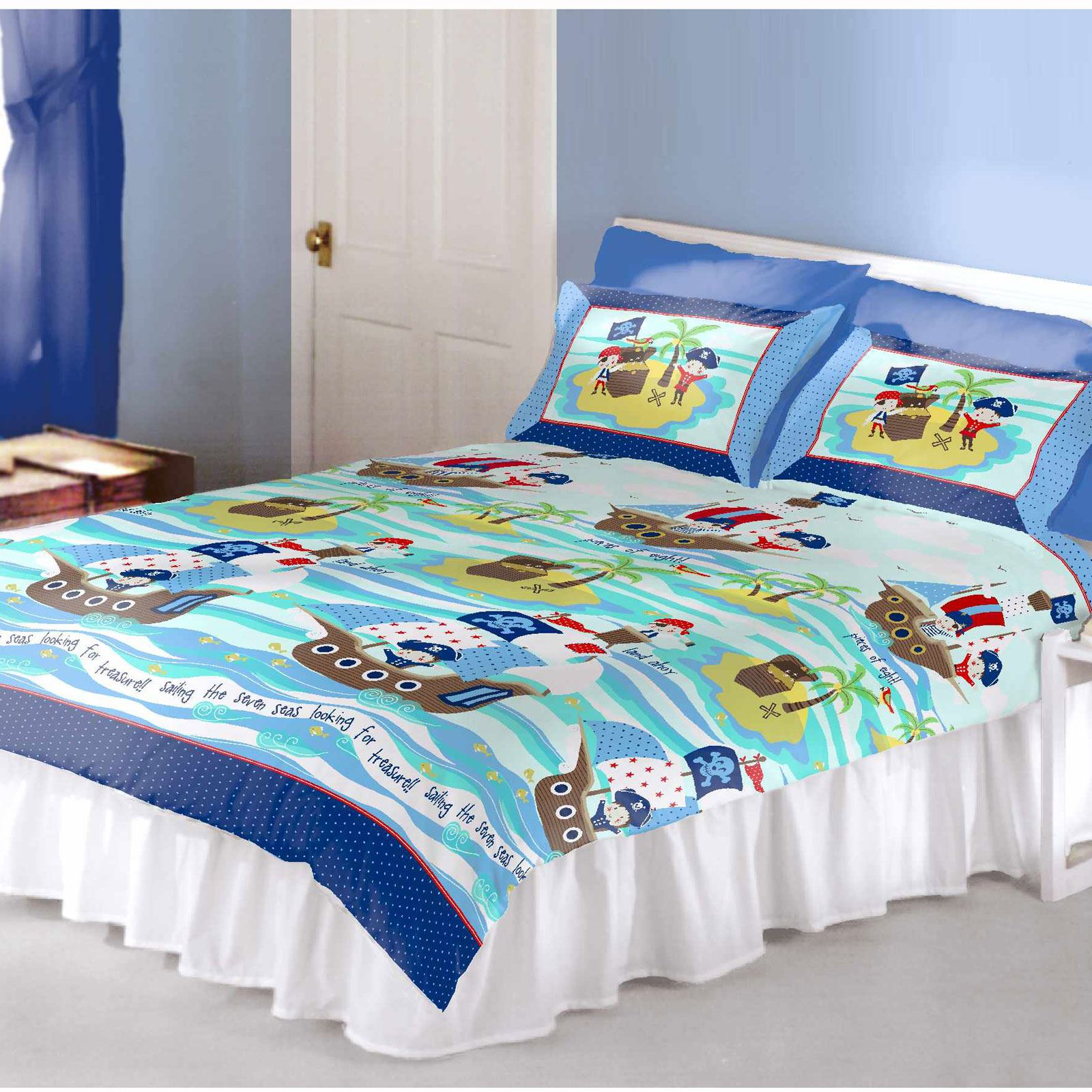 Kids double bedding childrens double duvet cover sets - Housse couette pirate ...