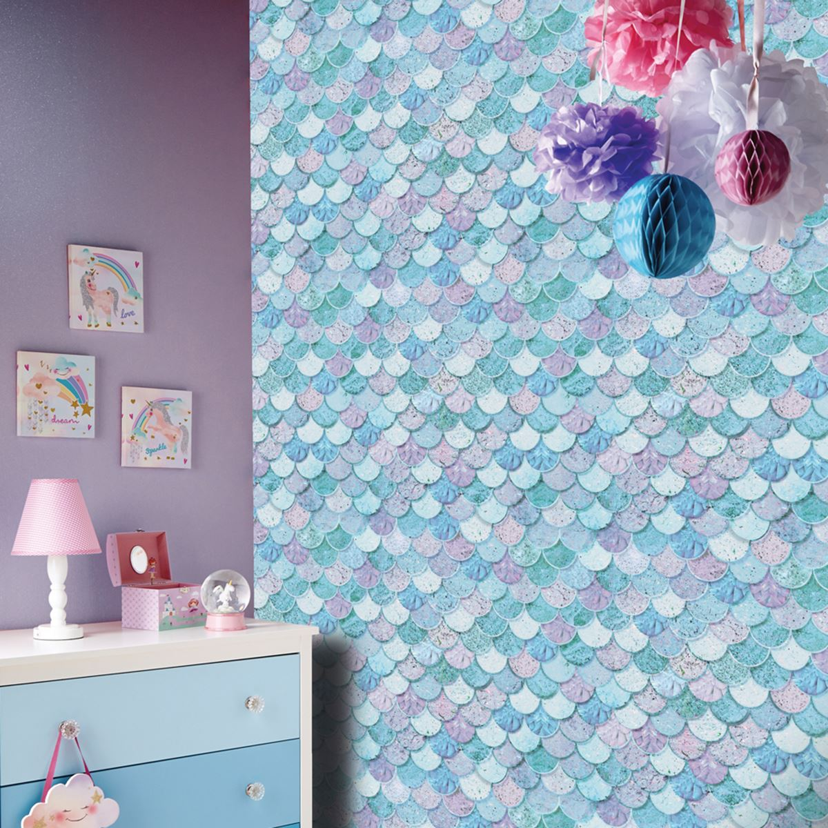 Mermazing Mermaid Scales Glitter Wallpaper Arthouse