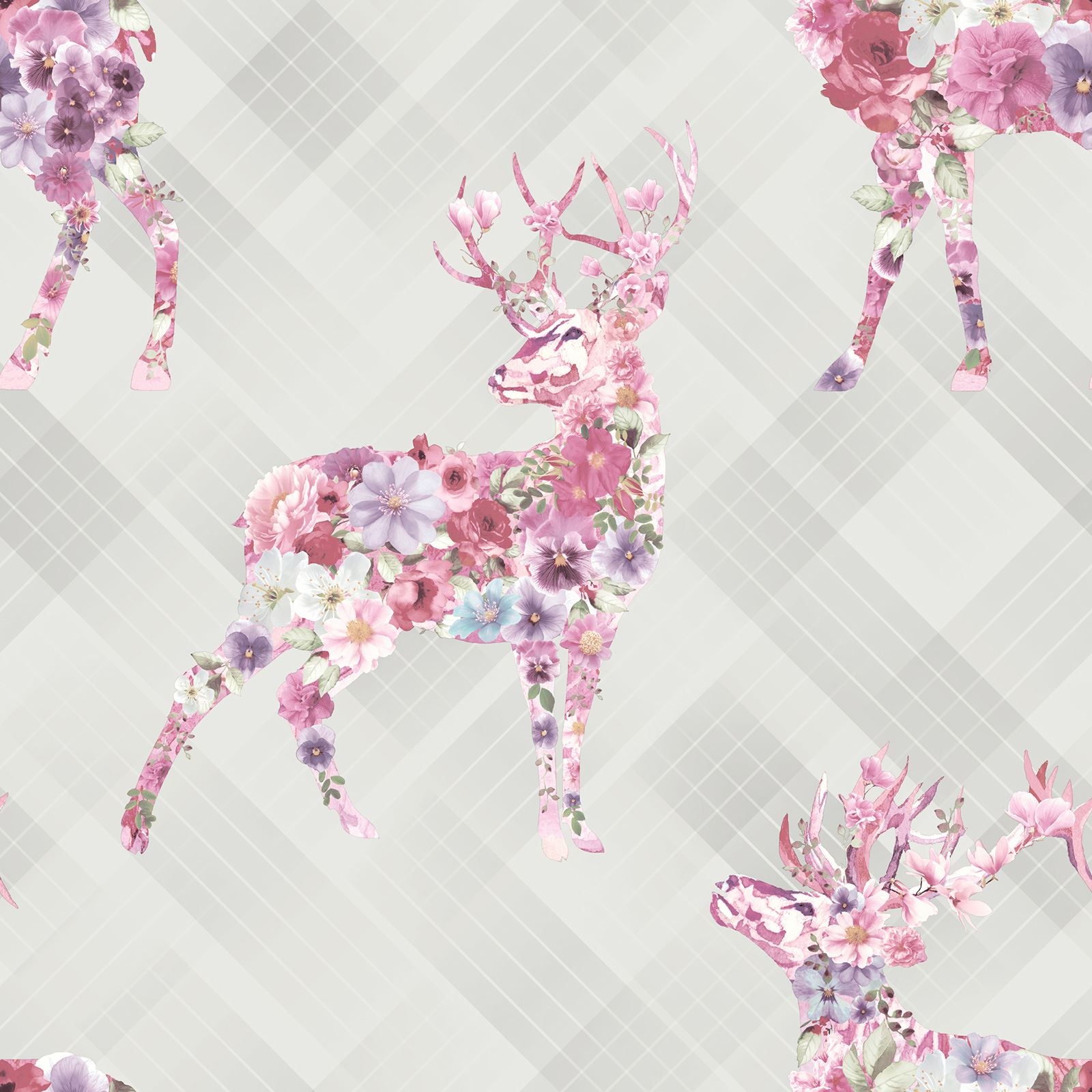 Stag Wallpaper Floral Nature Feature Wall Grey Ebay