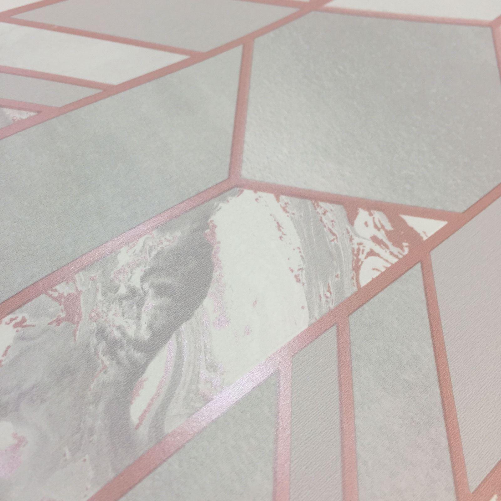 Rotgold-Tapete-Grau-Creme-Exotisch-Blumen-Tropisch-Palme-Blaetter-Geometrisch Indexbild 24