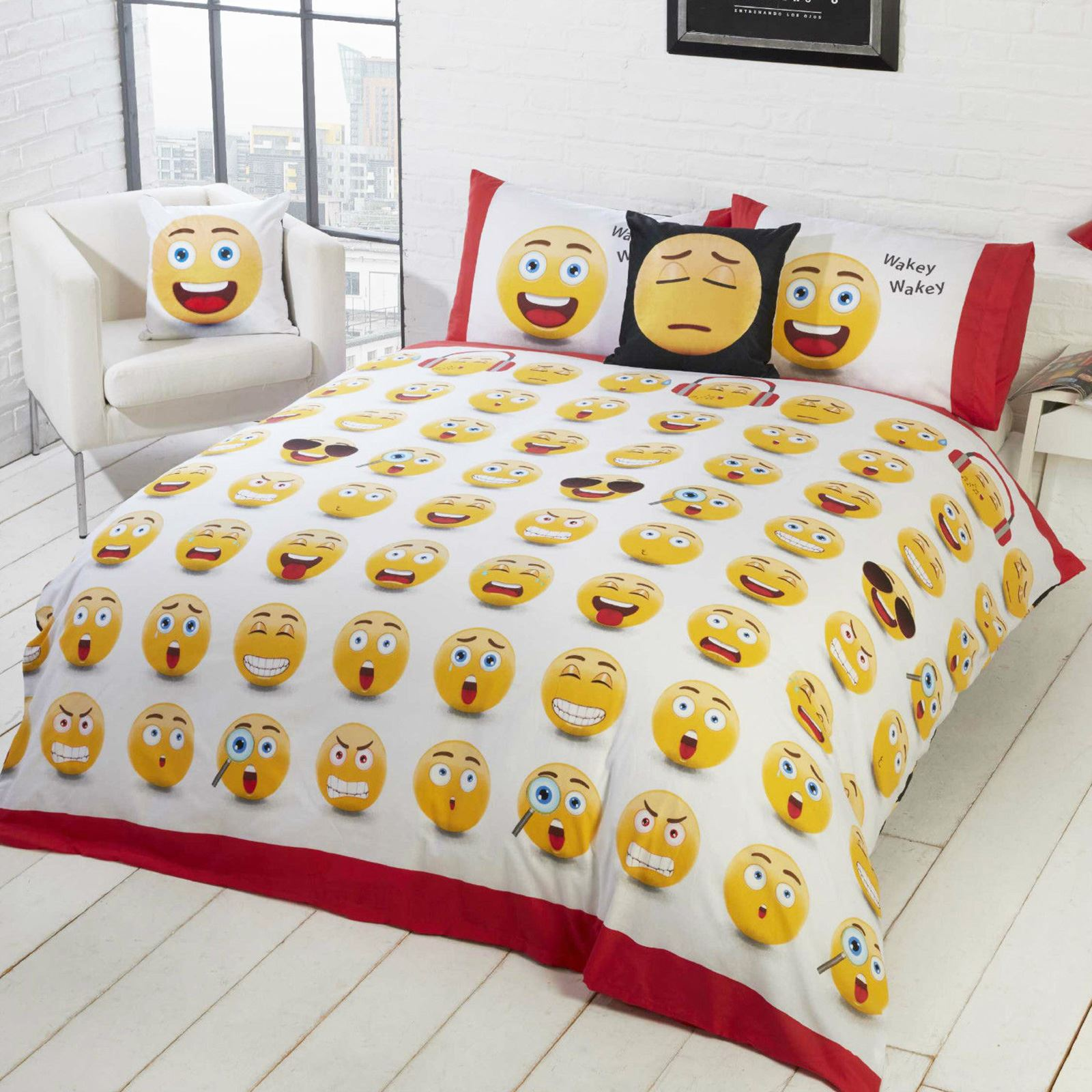 Emoji Icons Single Duvet Cover Set Reversible Design 2 In