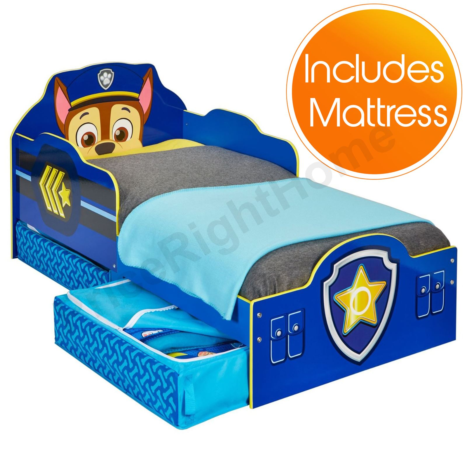 paw patrol chase kleinkind bett mit lager blau schaum matratze ebay. Black Bedroom Furniture Sets. Home Design Ideas
