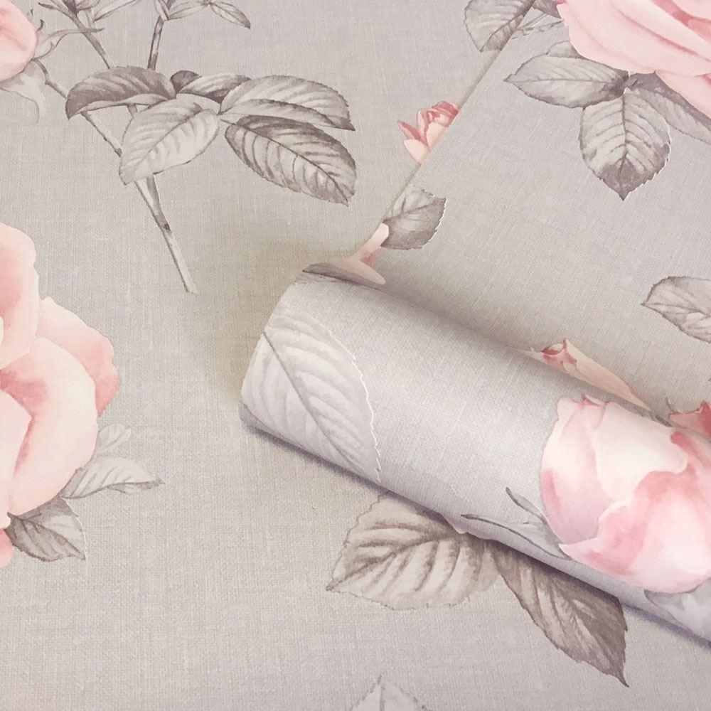 Rosa Floral Wallpaper 9766 Belgravia Decor Grey Pink