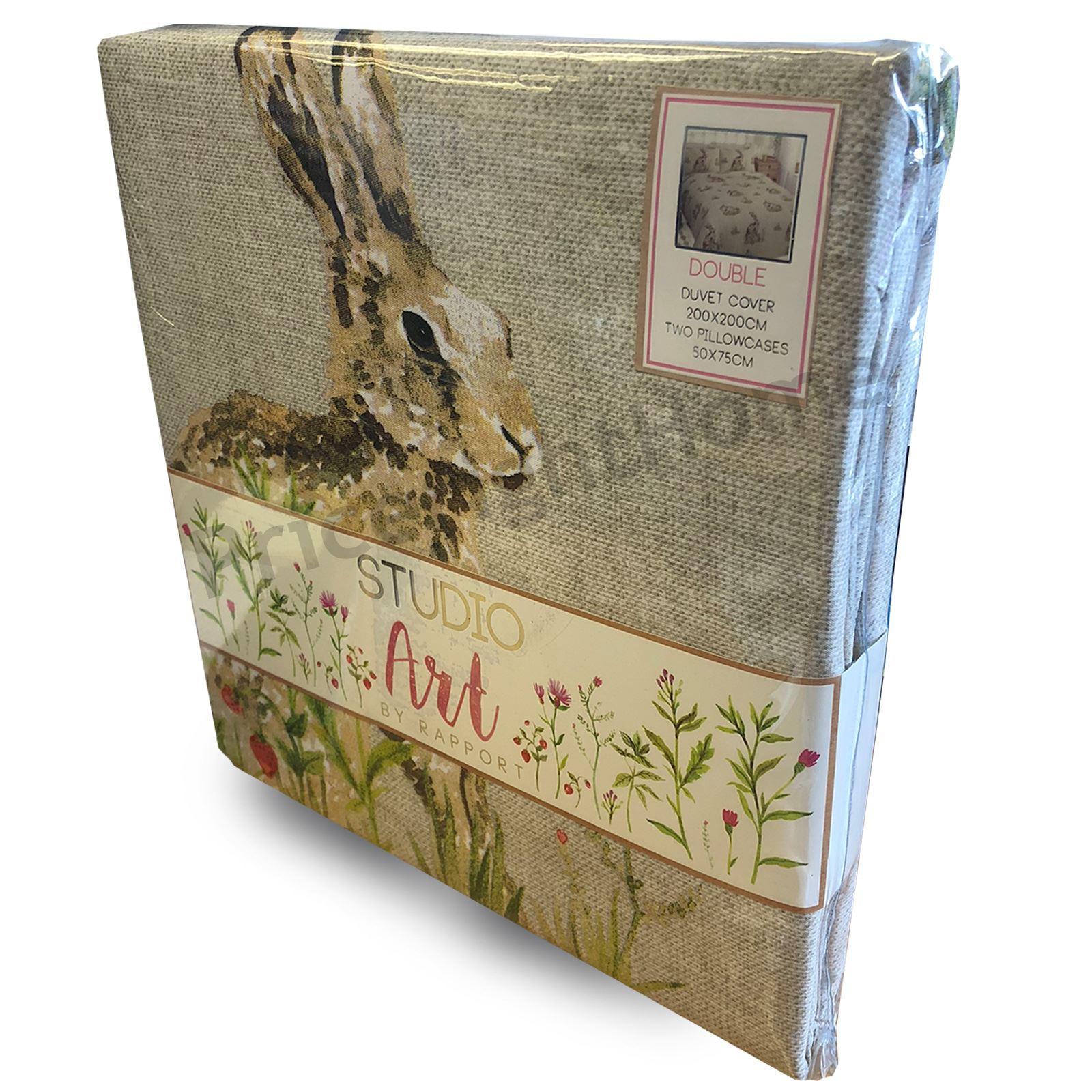 País Bumpkin Doble Duvet cover set ropa de Cama Woodland Animales liebres