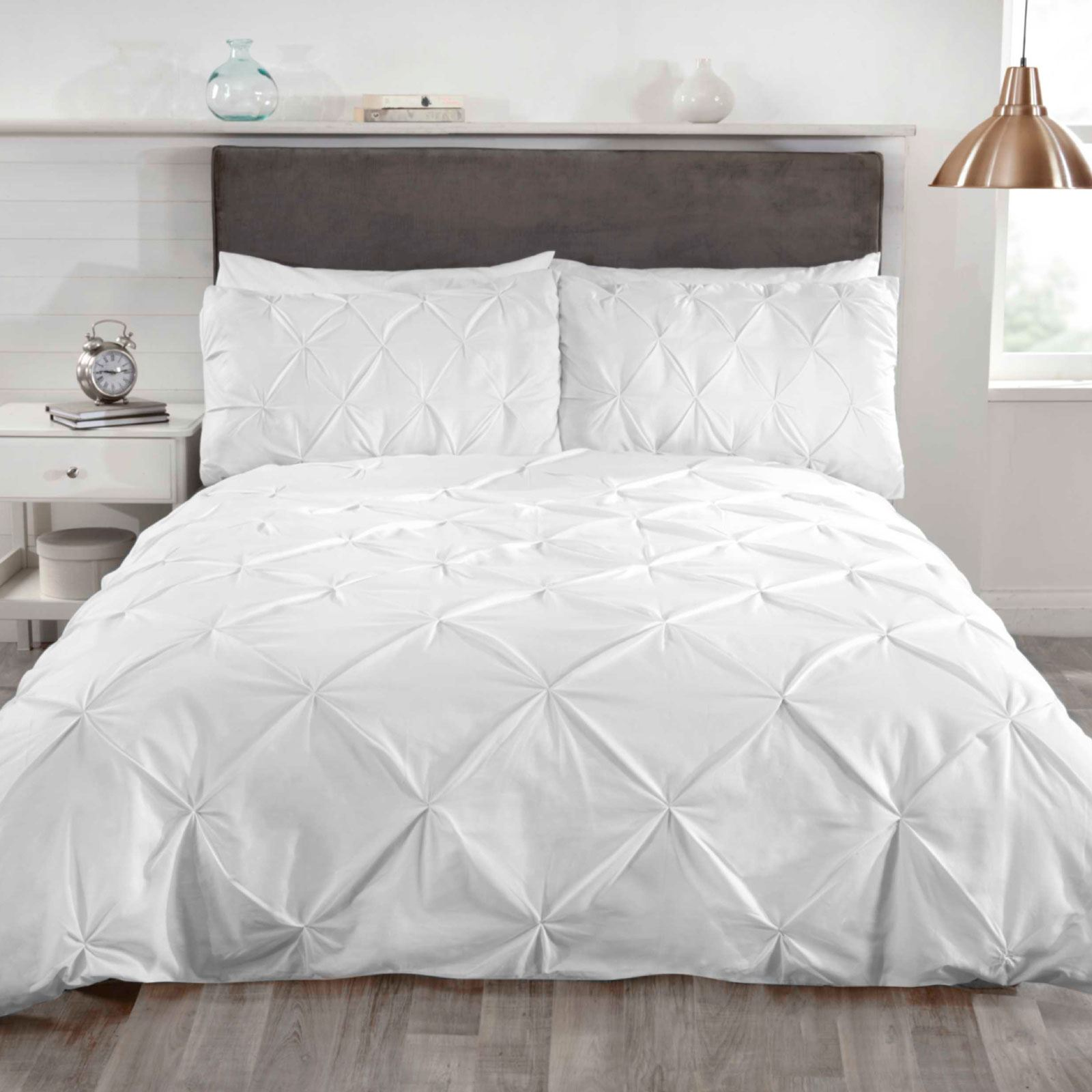 BALMORAL PIN TUCK WHITE SUPER KING SIZE DUVET COVER SET LUXURY