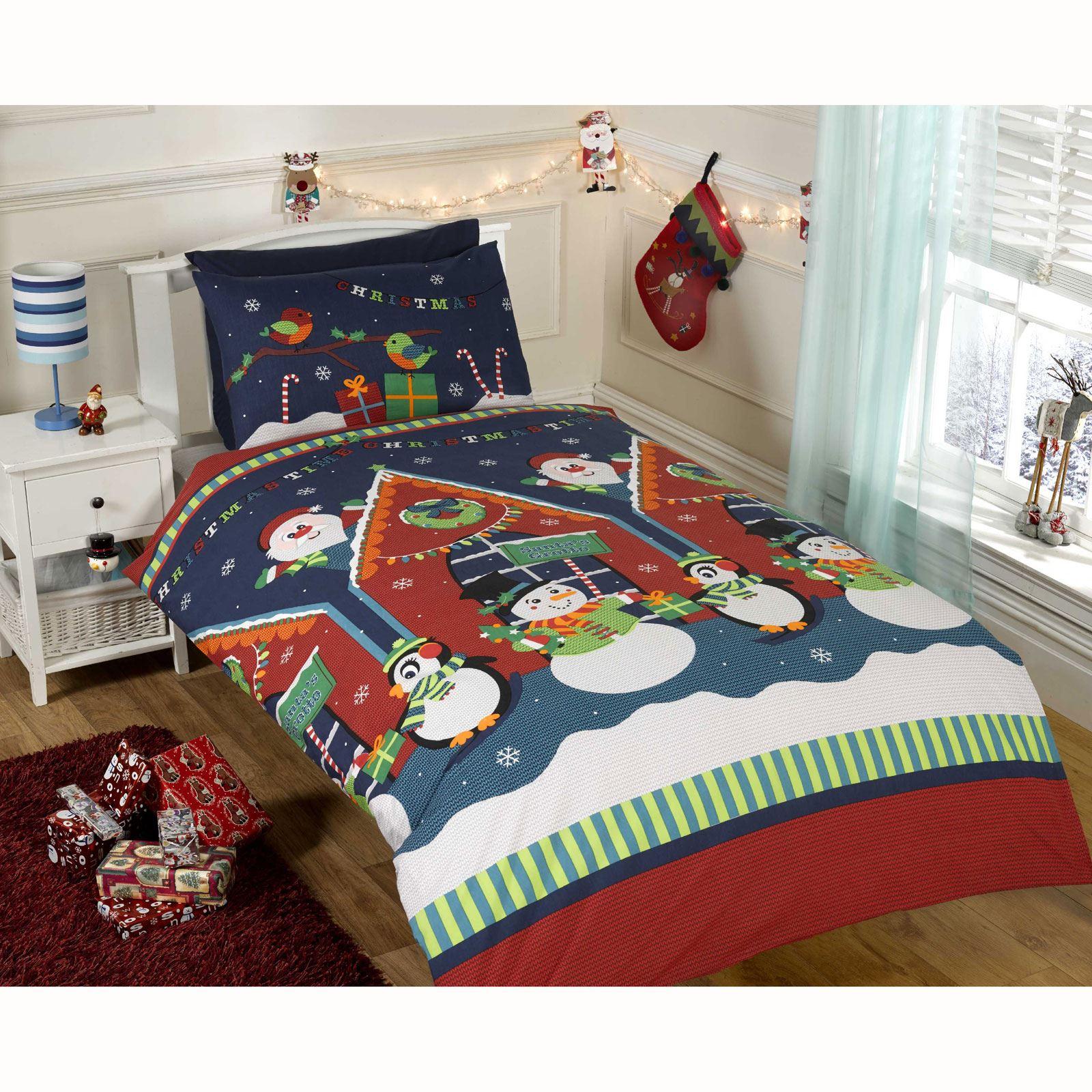 christmas duvet cover bedding sets – twin double & junior – santa