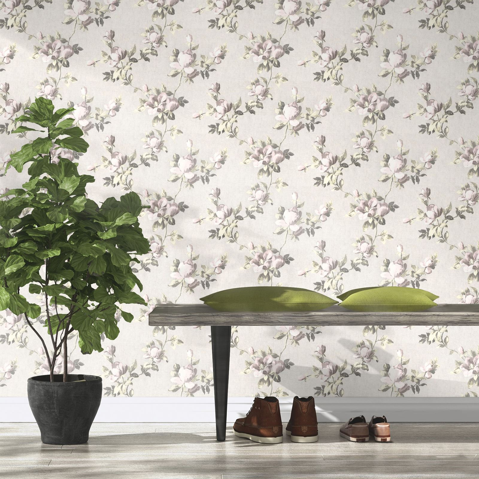 emilia rose blumen tapete cremefarben rosa gold rasch. Black Bedroom Furniture Sets. Home Design Ideas