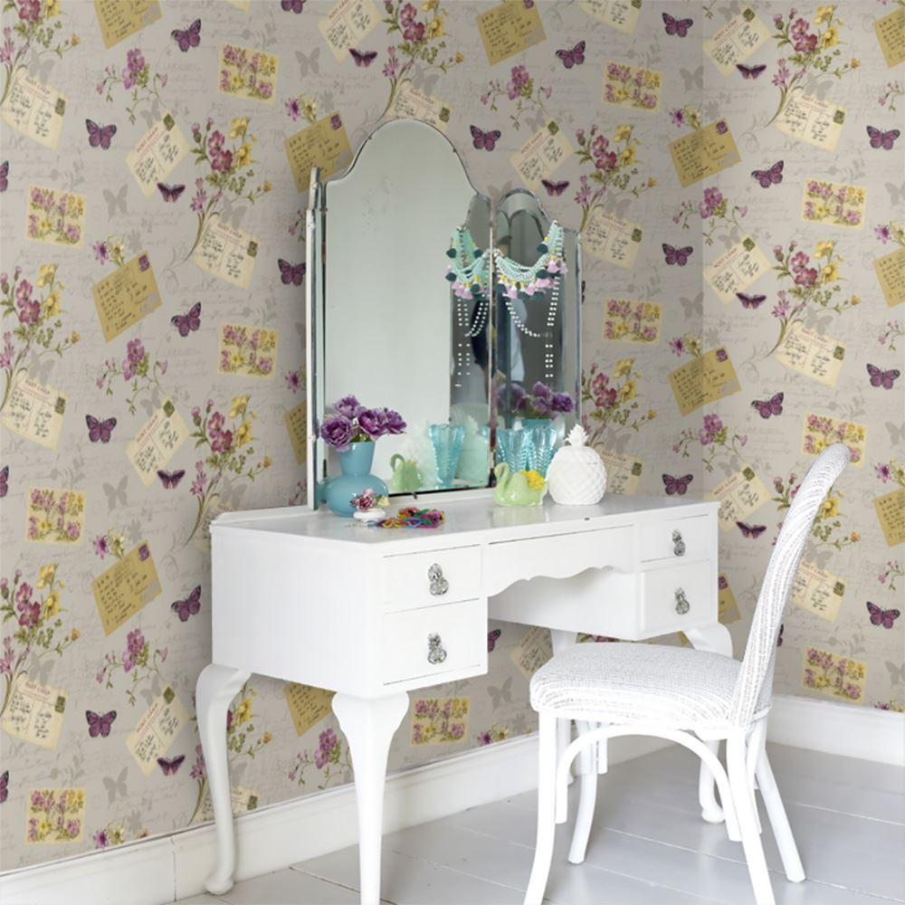 SOPHIE CONRAN POSTCARDS HOME WALLPAPER BUTTERFLIES FLOWERS BEIGE ANTIQUE 950901