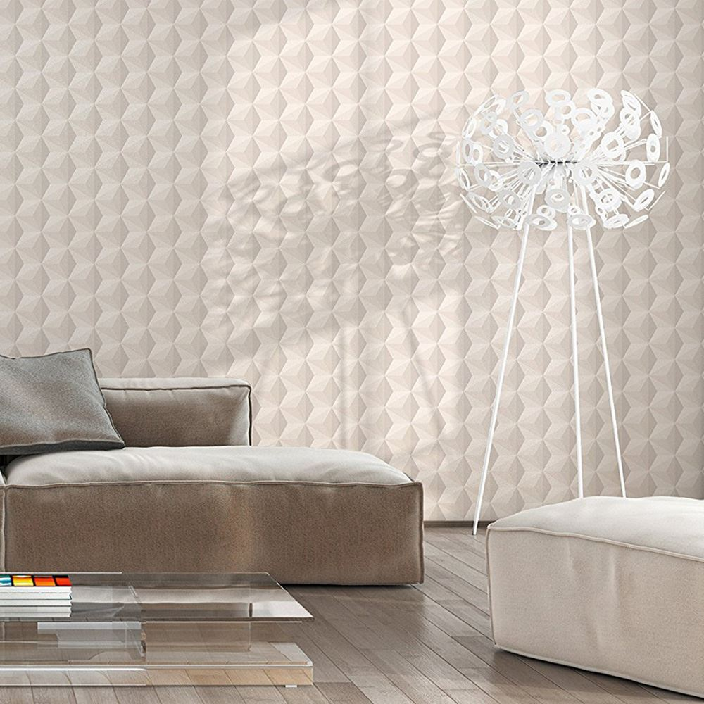 geometric wallpaper various colours and designs grey rose gold feature wall new ebay. Black Bedroom Furniture Sets. Home Design Ideas