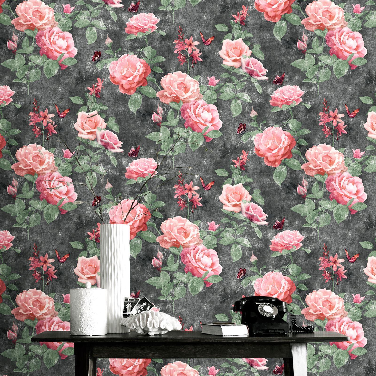 Rasch Portfolio Vintage Rose Wallpaper Pink Charcoal 215014 Flowers Ebay