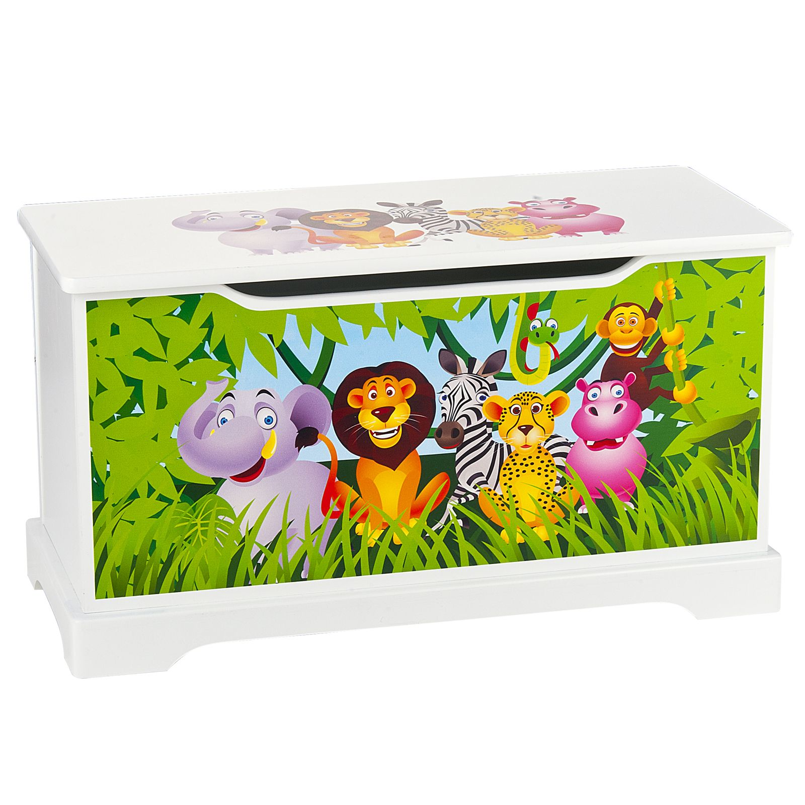 Jungle Animals Wooden Bedroom Furniture Kids Toy Box
