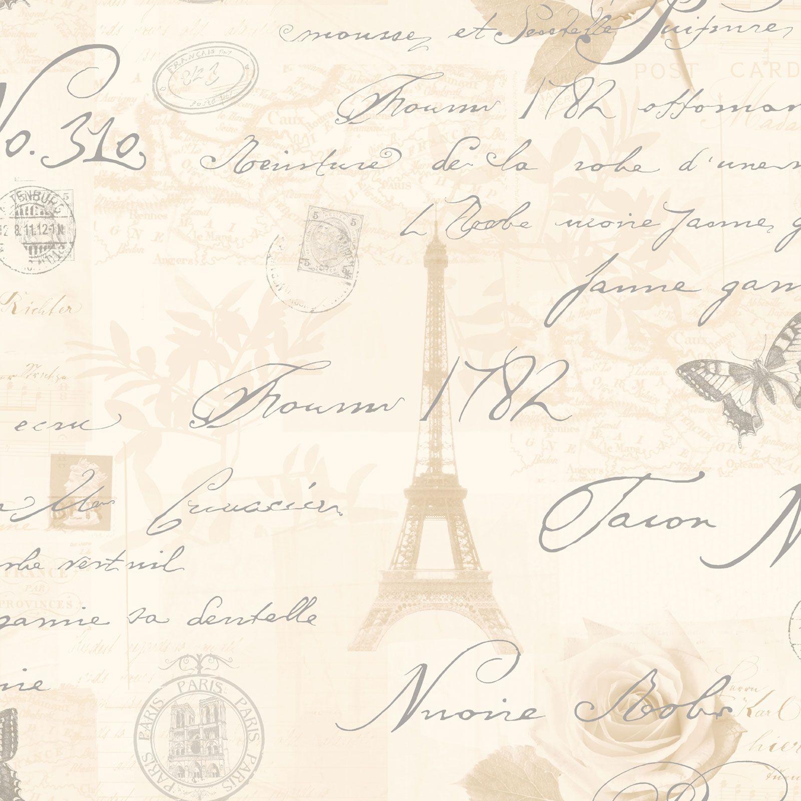 HOLDEN CALLIGRAPHY PARIS POSTCARD WALLPAPER DUCK EGG NEUTRAL