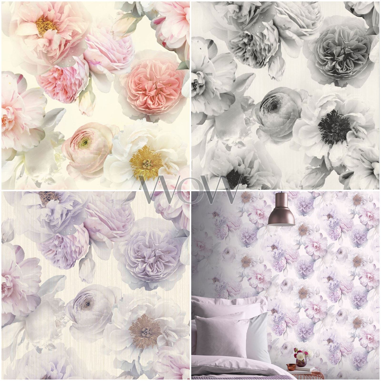 Arthouse Diamond Bloom Floral Wallpaper Flowers Glitter Blush