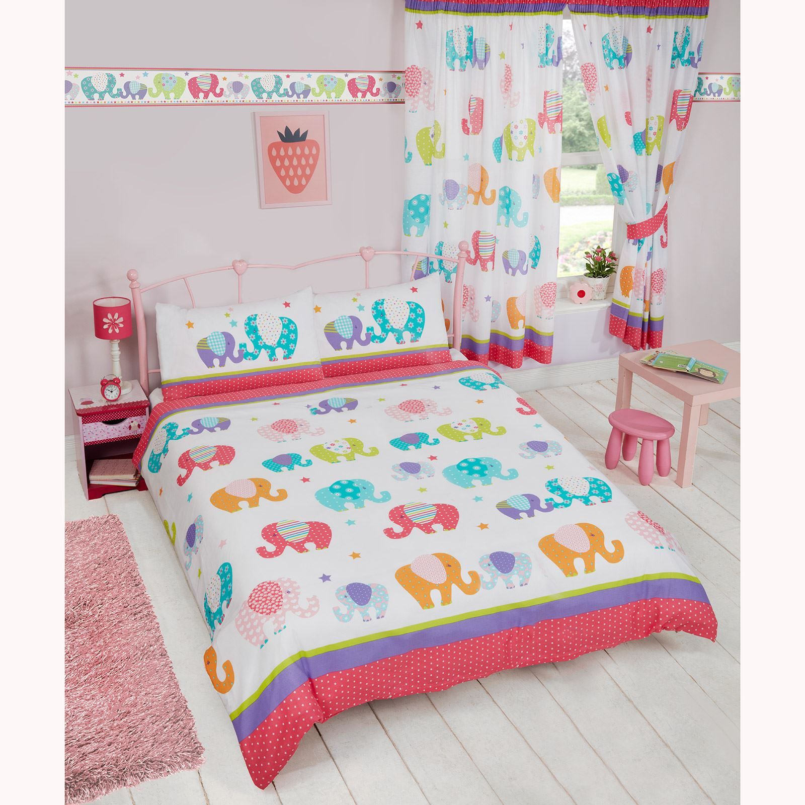 Patchwork Elephant Stars Matching Bedding Sets Curtains