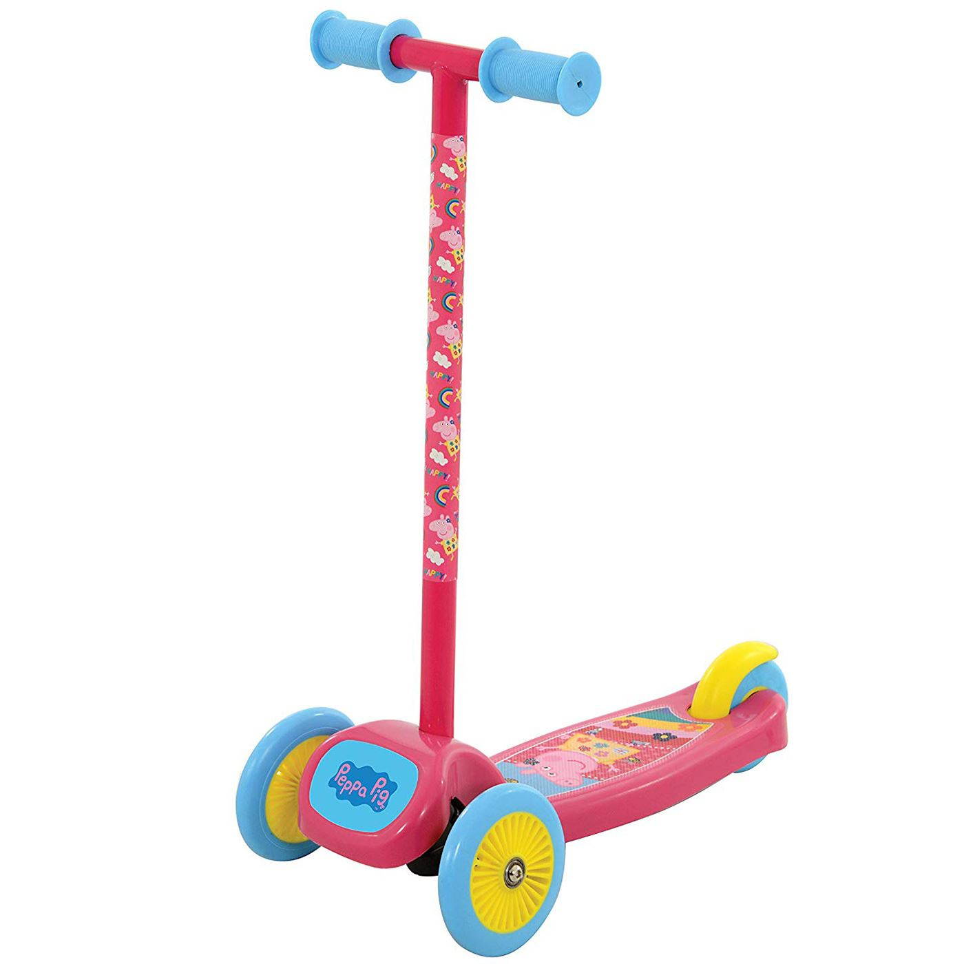 Details about peppa pig tilt n turn scooter with 3 wide wheels kids girls