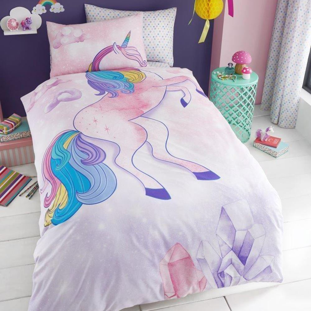 licorne toiles rose filles set housse de couette simple drap housse taie ebay. Black Bedroom Furniture Sets. Home Design Ideas