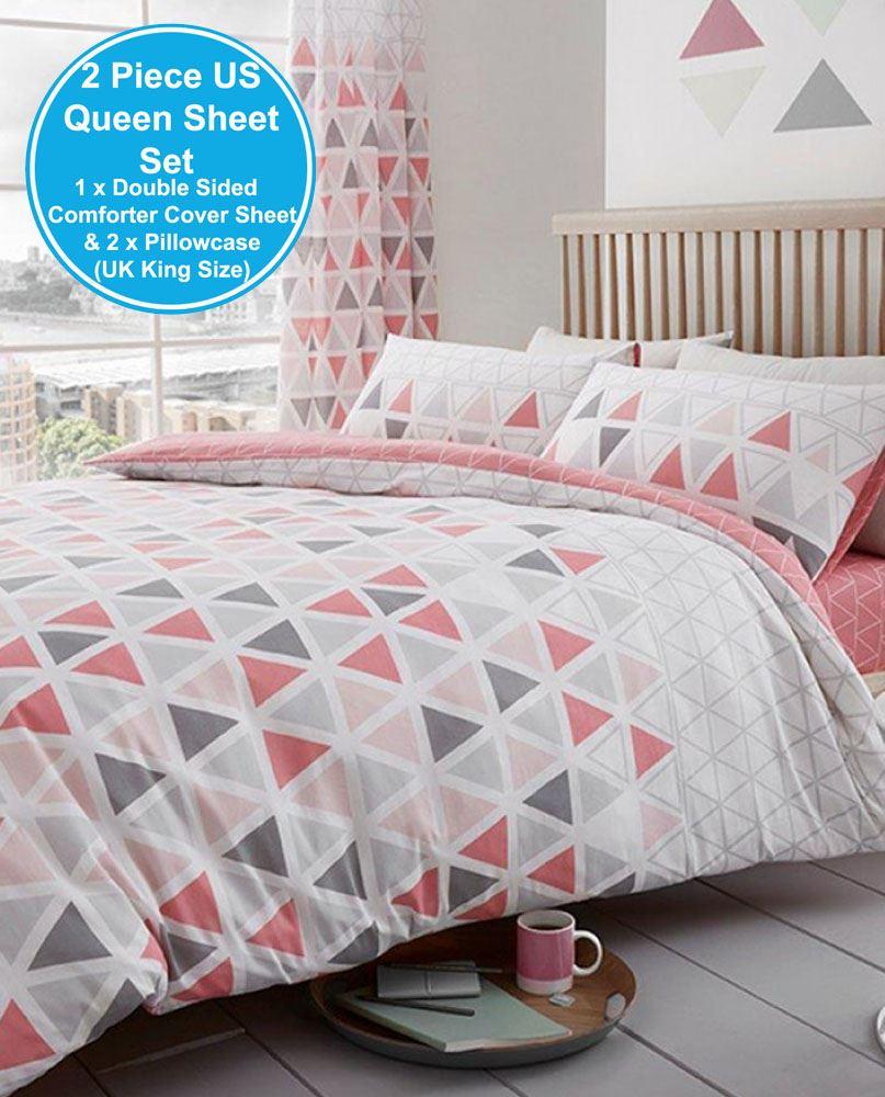 geo triangle duvet cover set bedding teal pink grey single double king size ebay. Black Bedroom Furniture Sets. Home Design Ideas