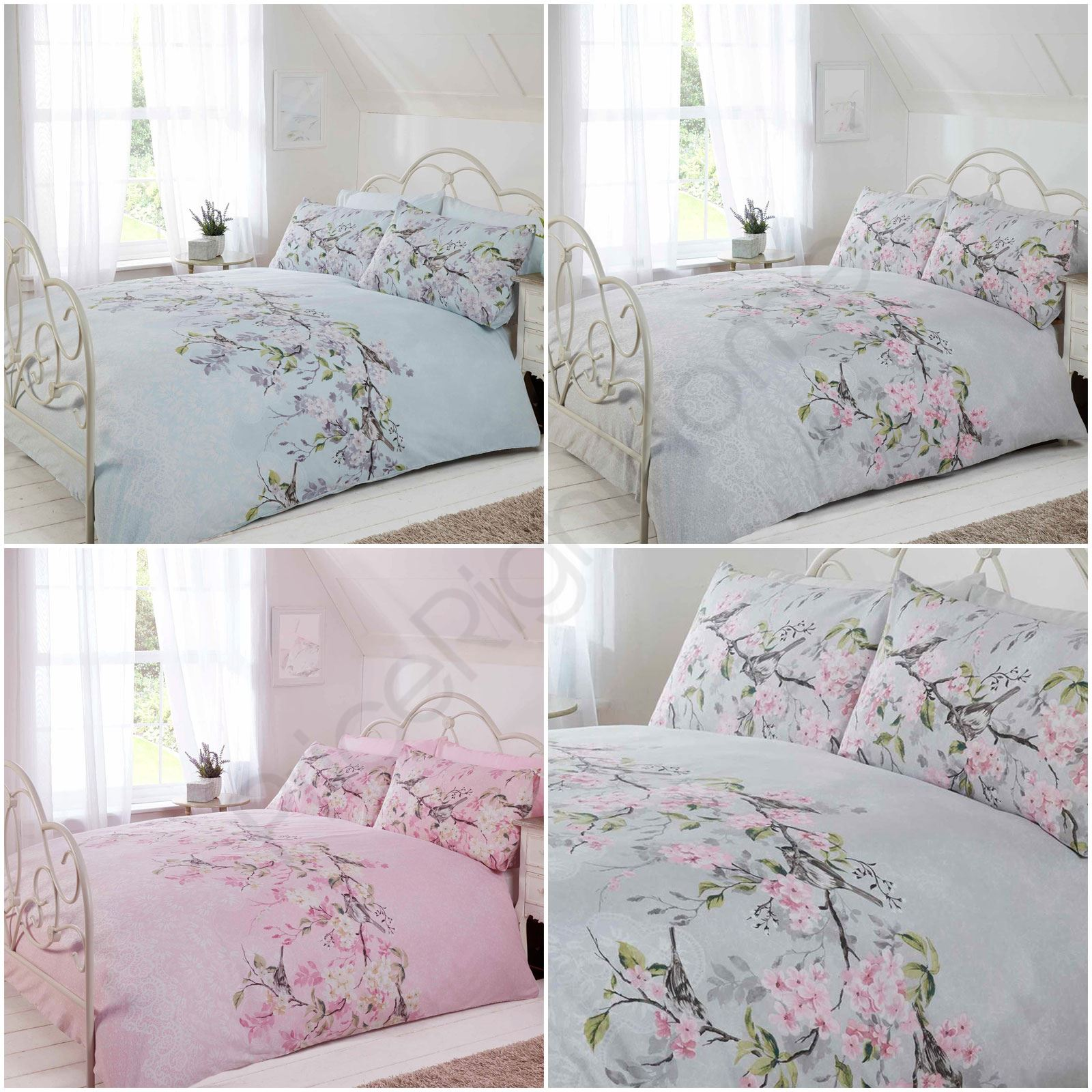 bird blossom floral duvet quilt cover bedding set grey pink /& duck egg blue
