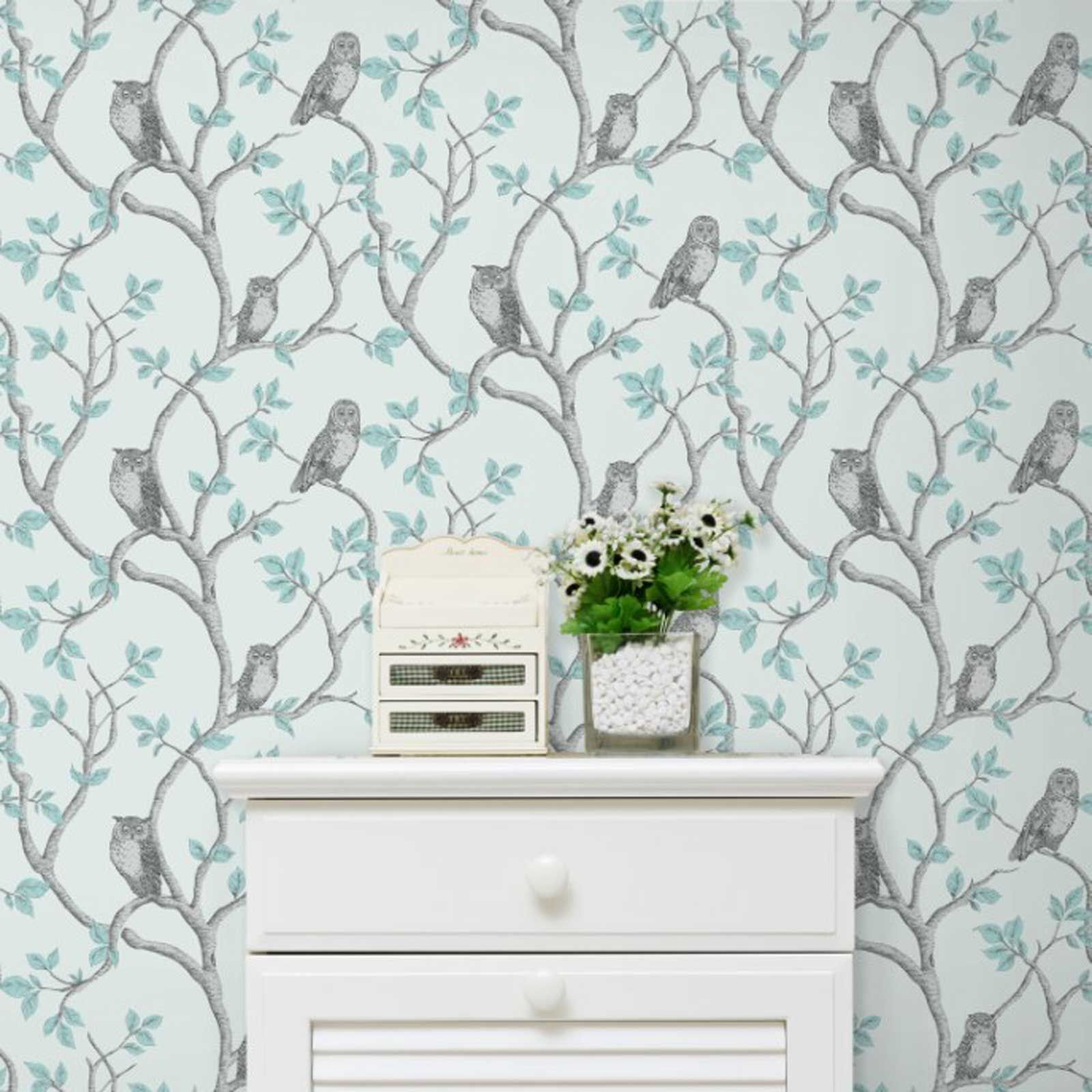 Fine d cor teal duck egg wallpaper shabby chic owl for Duck egg bedroom ideas